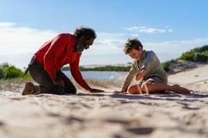 Trevor Jamieson as Fingerbone Bill, with Finn Little as Mike 'Storm Boy' Kingley