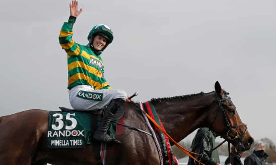 Rachael Blackmore celebrates becoming the first woman to win the Grand National.