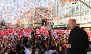 Turkey's president, Recep Tayyip Erdoğan, campaigns in Usak, Turkey