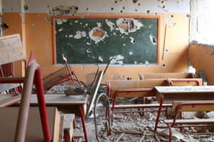 This primary school in Hujjaira, rural Damascus was damaged in the ongoing conflict