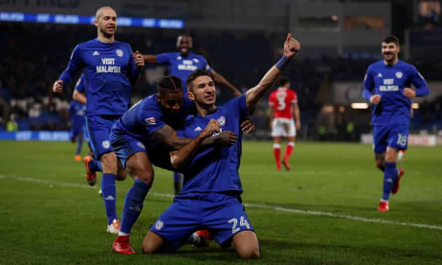 Marko Grujic celebrates scoring Cardiff's second goal in their 2-1 Championship win over Barnsley.