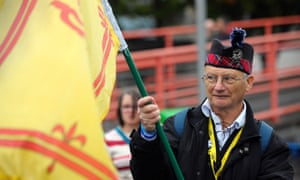 An independence supporter at the rally outside the conference centre.