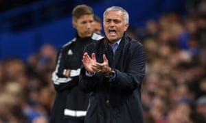José Mourinho, Chelsea's manager, claps players as his team plays Maccabi Tel Aviv