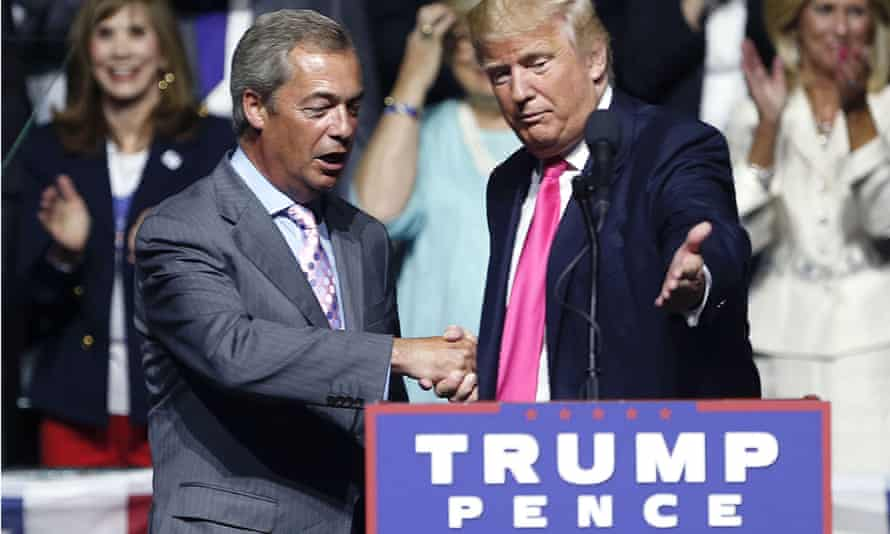 Trump with Farage at a campaign rally in August 2016.