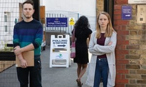EU citizens Moritz Valero and Kat Sellner, who were turned away from a polling station in London, May 2019.