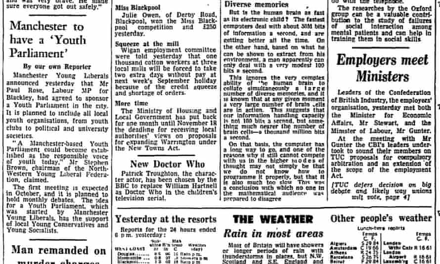 The Manchester Guardian announces the new Doctor Who on 2 September 1966