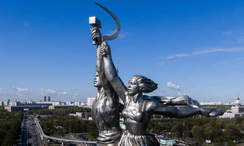 Statue of worker and collective farm woman by Vera Mukhina, in Moscow, Russia<br>MOSCOW, RUSSIA - MAY 13, 2017: The statue of a worker and collective farm woman by Vera Mukhina at the main entrance to the VDNKh exhibition complex. Stanislav Krasilnikov/TASS (Photo by Stanislav Krasilnikov\TASS via Getty Images)