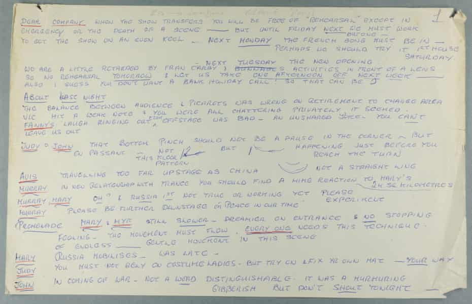 Joan Littlewood's detailed notes on a performance of Oh What a Lovely War!