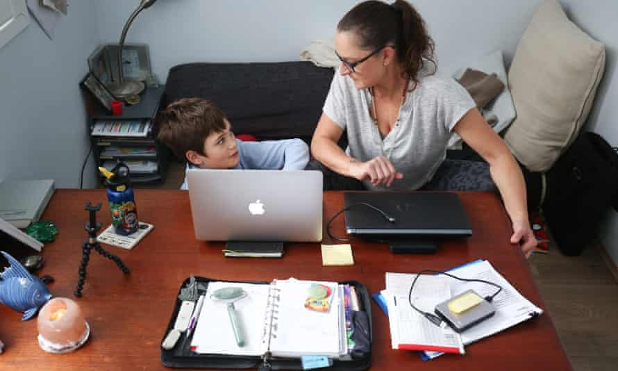 A Sydney mother balances work and home schooling during the coronavirus lockdown