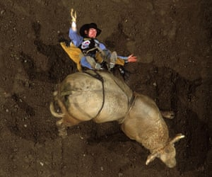 Cory McFadden is thrown off his bull