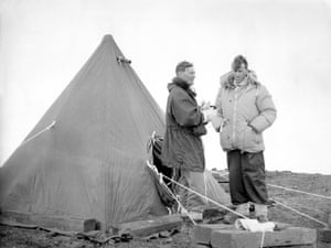 Robert Miller and Sir Edmund Hillary on Ross Island in the Antarctic 1957.