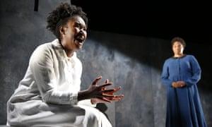 Shvorne Marks and Amanda Wright in Meek, written by Penelope Skinner. Traverse theatre, Edinburgh fringe festival, 2018.