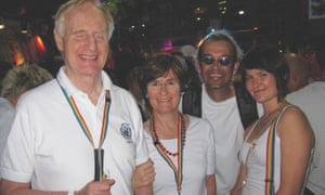 Ron McCallum and Mary Crock with daughter Kate McCallum and friend at a marriage equality event in Sydney