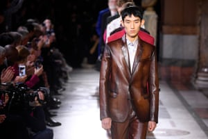 Leather suits on the Berluti catwalk.