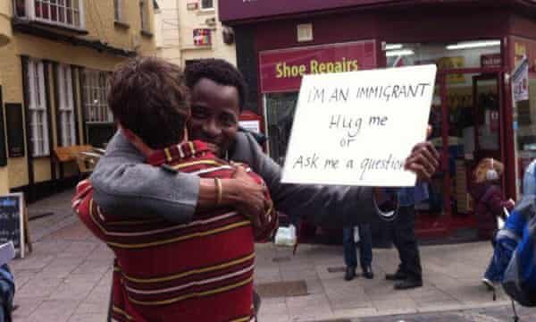 Bisi Alimi campaigning against anti-migrant rhetoric from Nigel Farage in the UK's May 2015 general election