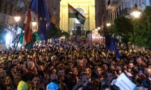 Demonstrators in Budapest rally in support of the Central European University