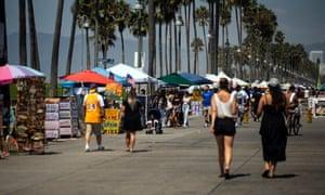 Heat wave amid coronavirus pandemic in Venice Beach, California