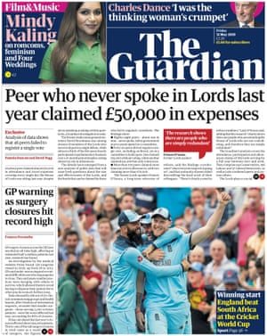 Guardian front page, Friday 31 May 2019