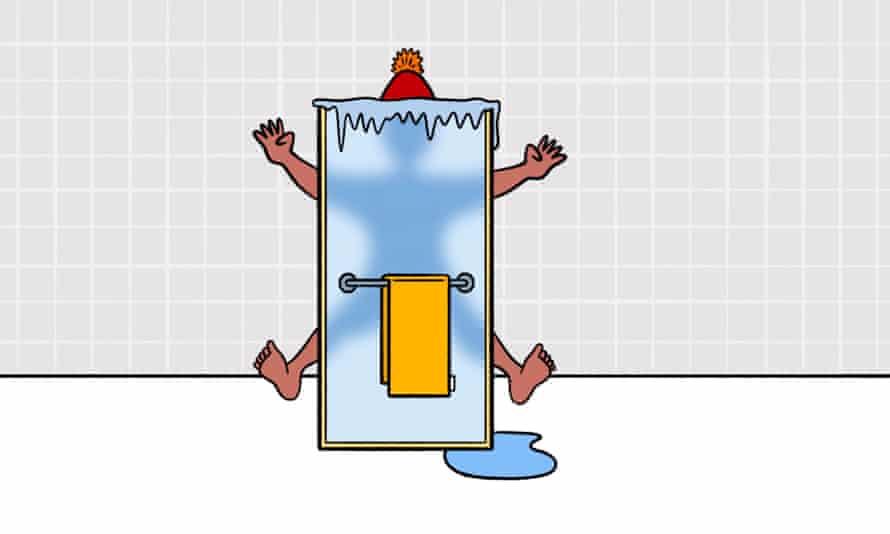 Illustration of man behind frozen shower door
