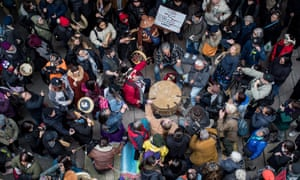 Protesters gather during a rally against the TransCanada pipeline expansion in northwestern British Columbia in Vancouver, on Tuesday.