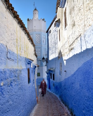 Street in Chefchaouen, nicknamed 'The Blue Pearl', is a town in the Rif mountains that is famous for its blue-washed buildings