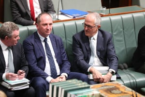 Prime Minister Malcolm Turnbull and deputy PM Barnaby Joyce during a division in question time.