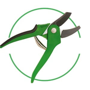 Secateurs cut-out inside green-rimmed circle