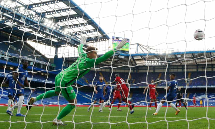 Sadio Mané's header flies past Kepa Arrizabalga in the Chelsea goal to give Liverpool the lead