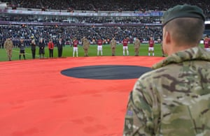 General view of the Armistice Day remembrance at The London Stadium before West Ham beat Burnley 4-2.