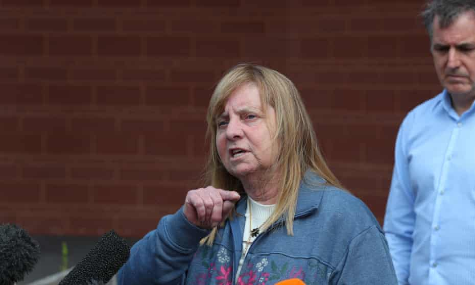 Hillsborough campaigner Margaret Aspinall, whose 18-year-old son, James, was killed in the disaster, speaks to the media outside Anfield stadium, Liverpool, following the collapse of the trial. Also pictured is Steve Rotheram, the mayor of Liverpool city region.