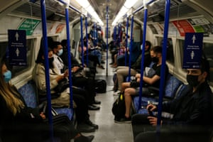 Commuters ride the Northern Line on 24 September, 2020 in London, England. The highest single-day total of lab-confirmed coronavirus cases in the UK was recorded on Thursday, with 6,634 positive tests.