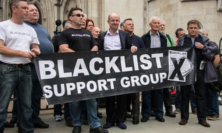 Workers from the Blacklist Support Group protest outside the Royal Courts of Justice in 2014