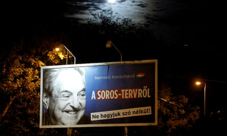 A government billboard in Budapest urges Hungarians to join a consultation about what it calls a plan by George Soros to settle a million migrants in Europe every year