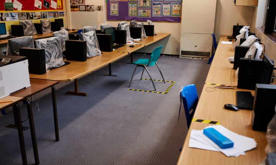 Huntington School in York prepares for distanced return of pupils.