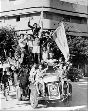 Celebrations in Tel Aviv, 14 May 1948, on the proclamation of a new state of Israel.