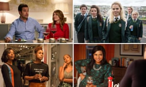 Clockwise from top left, Catastrophe, Derry Girls, The Mindy Project and Insecure.