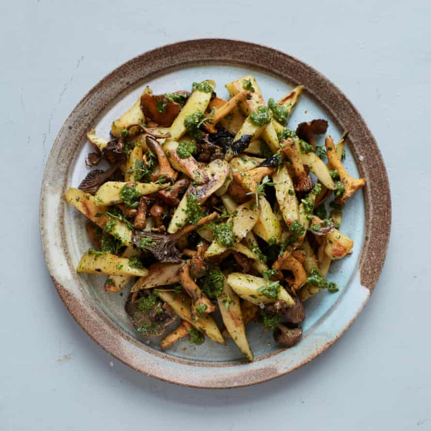 Sautéed parsnip with mushrooms and salsa verde.
