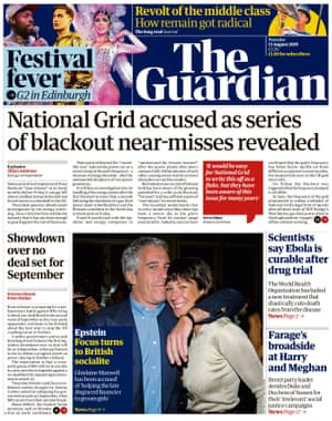 Guardian front page, Tuesday 13 August 2019