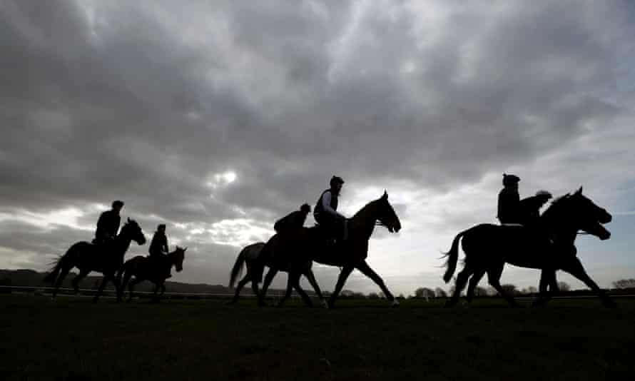 Horses from Willie Mullins' stable on the gallops at Cheltenham before the Cheltenham Festival which starts on Tuesday.