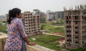 Farzana Boby leaning on balcony