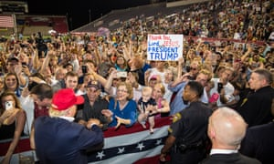 Donald Trump at a campaign rally in Alabama. His supporters are demographically very different from Hillary Clinton's.