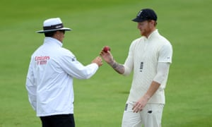 Captain Ben Stokes queries the shape of the ball with the umpire as England prepare for the Test series against West Indies.