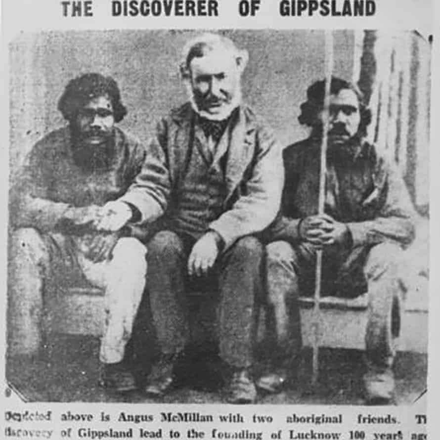 Angus McMillan sitting with two Aboriginal men