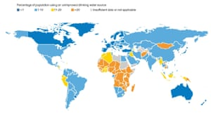 The percentage of populations using an unimproved drinking water source in 2015.