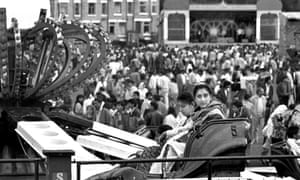 Crowds at Britain's first outdoor mela, or gathering, on the Shearbridge Road playing fields in Bradford, September 1988.