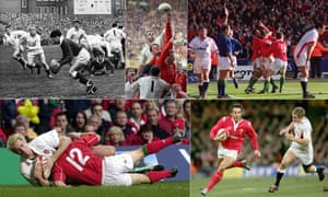 Wales outside half David Watkins clears the ball in 1967, England's Wade Dooley outjumps Gareth Llewellyn in 1991, Wales celebrate their last-gasp Wembley win in 1999, Gavin Henson outpaces Mathew Tait in 2005 and Will Greenwood goes over for the second of three tries in 2001.