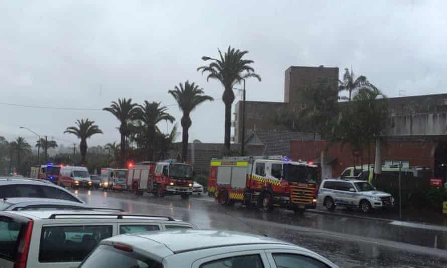 Emergency crews repond to reports of a roof collapse at Lismore Base hospital.