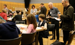 Geometric drawings with Michael Challenger at Guardian cartoon and art family day, 10 October 2015.