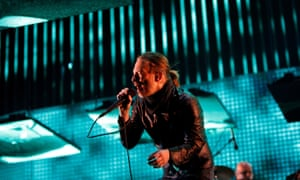 Thom Yorke performing with Radiohead, Coachella, 2012.