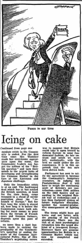 Thatcher EU rebate cartoon 1984
